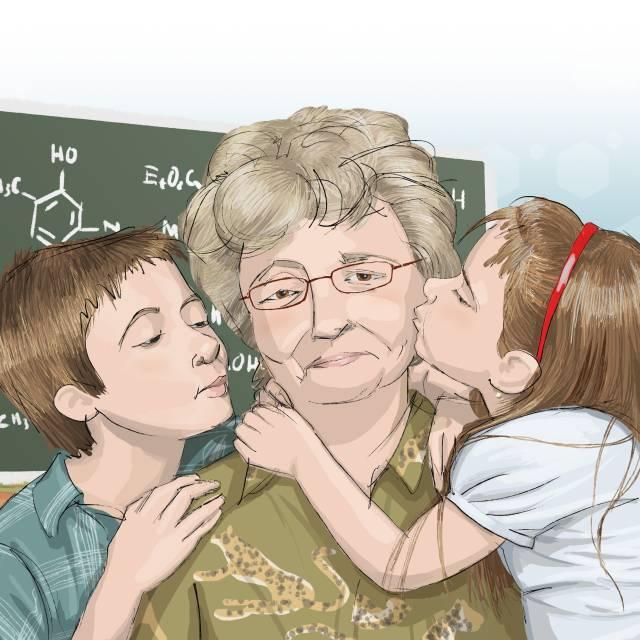 regalo ilustración persona mayor